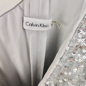 Calvin Klein Dresses - Calvin Klein Dress One Shoulder Sequin Silver 8